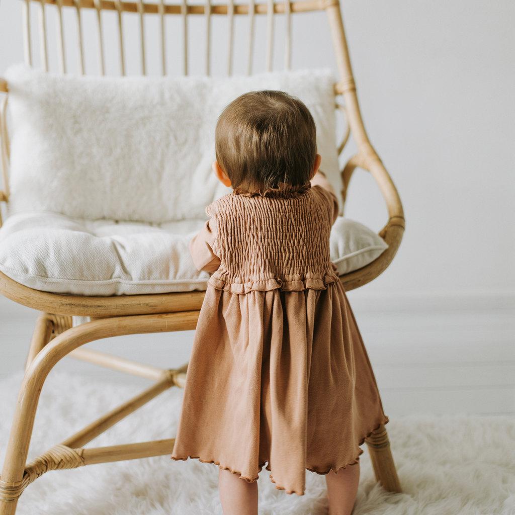 L'OVED BABY L'oved Baby Organic Smocked Dress-Nutmeg