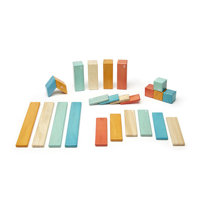 TEGU Tegu 24 Piece Magnetic Wooden Block Set: Sunset