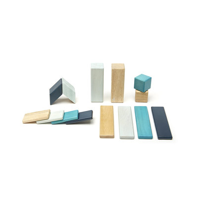TEGU Tegu 14 Piece Magnetic Wooden Block Set: Blues