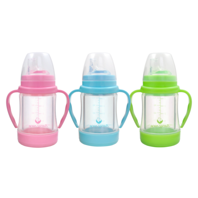 IPLAY Green Sprouts Glass Sip & Straw Cup