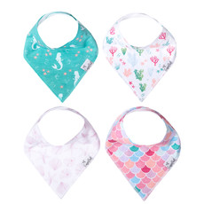 COPPER PEARL Copper Pearl Bandana Bibs - Set of 4 - Florals/Pink