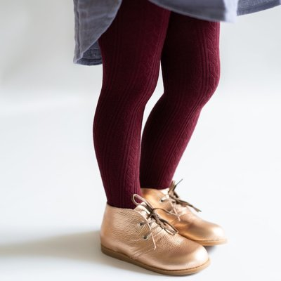 THE LITTLE STOCKING CO Little Stocking Co Cable Knit Tights - Wine