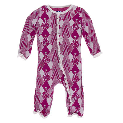 KICKEE PANTS Kickee Pants Berry Mountains Muffin Ruffle Coverall with Zipper