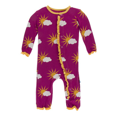 KICKEE PANTS Kickee Pants Berry Partial Sun Muffin Ruffle Coverall with Zipper