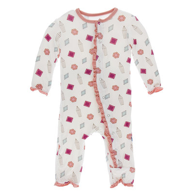 KICKEE PANTS Kickee Pants Natural Gems Muffin Ruffle Coverall with Zipper