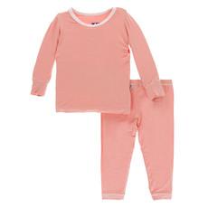 KICKEE PANTS Kickee Pants Blush with Macaroon Long Sleeve Pajamas