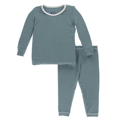 KICKEE PANTS Kickee Pants Dusty Sky with Natural Long Sleeve Pajamas