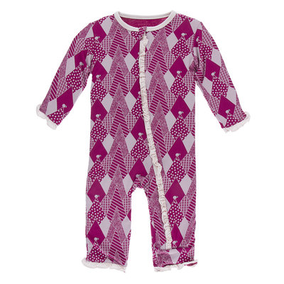 KICKEE PANTS Kickee Pants Berry Mountains Classic Ruffle Coverall with Zipper