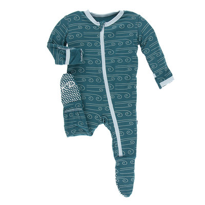 KICKEE PANTS Kickee Pants Heritage Blue Wind Footie with Zipper