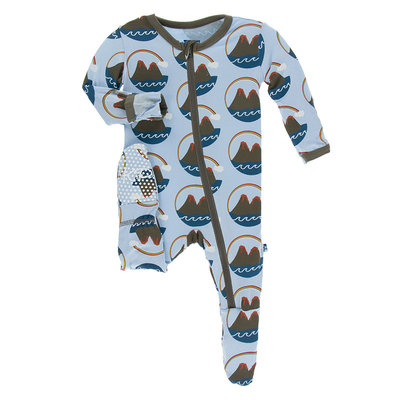 KICKEE PANTS Kickee Pants Pond Volcano Footie with Zipper