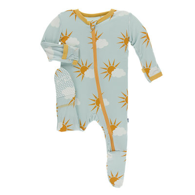 KICKEE PANTS Kickee Pants Spring Sky Partial Sun Footie with Zipper
