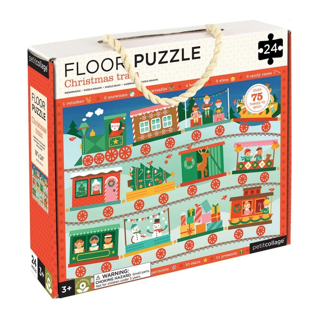 PETIT COLLAGE Petit Collage Christmas Train Floor Puzzle