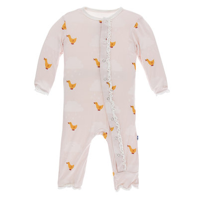 KICKEE PANTS Kickee Pants Macaroon Puddle Duck Classic Ruffle Coverall with Zipper