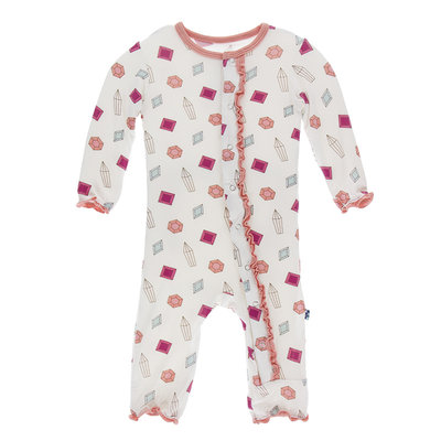 KICKEE PANTS Kickee Pants Natural Gems Classic Ruffle Coverall with Zipper