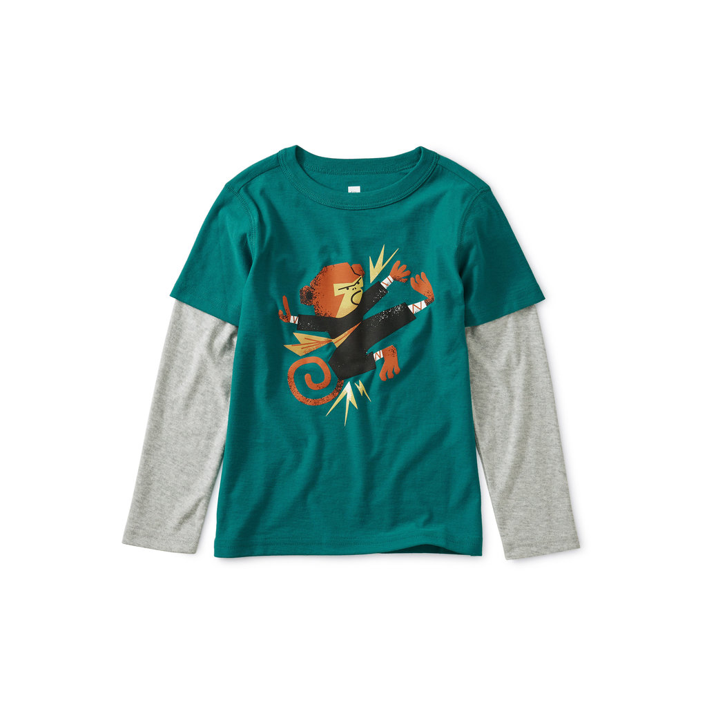 TEA COLLECTION Tea Monkey Layered Tee