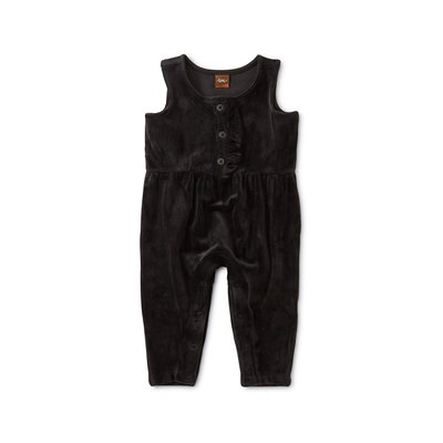 TEA COLLECTION Tea Velour Ruffle Romper - JetBlack