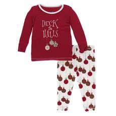 KICKEE PANTS Kickee Pants Crimson Deck the Halls Long Sleeve Pajamas