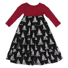 KICKEE PANTS Kickee Pants Long Sleeve Midnight Foil Tree Tiered Dress