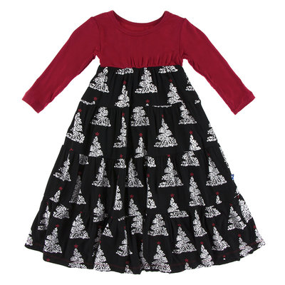 KICKEE PANTS Kickee Pants Long Sleeve Midnight Foil Tree Tiered Dress