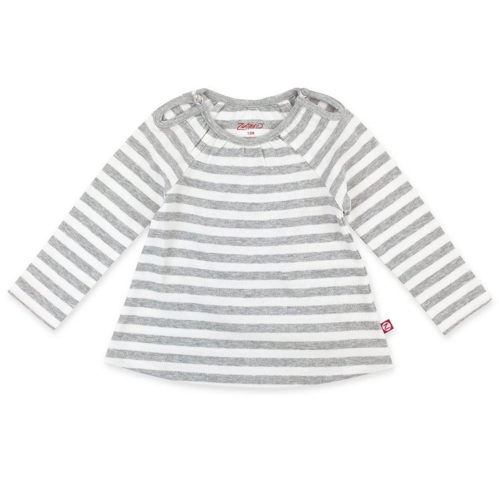 ZUTANO Zutano Heather Stripe Organic Cotton Long Sleeve Peasant Top