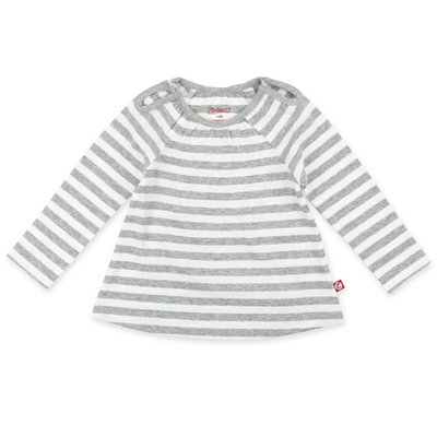 ZUTANO Zutano Heather Stripe Organic Cotton Long Sleeve Peasant Top
