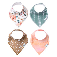 COPPER PEARL Copper Pearl Bandana Bibs - Set of 4 - Florals/Pink