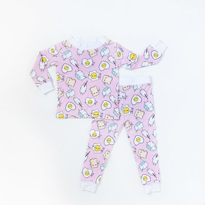 LITTLE SLEEPIES Little Sleepies Pink Breakfast Buddies Two-Piece