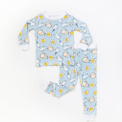 LITTLE SLEEPIES Little Sleepies Blue Breakfast Buddies Two-Piece