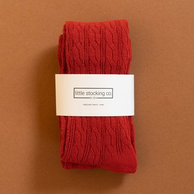 THE LITTLE STOCKING CO Little Stocking Co Cable Knit Tights - Spice Red