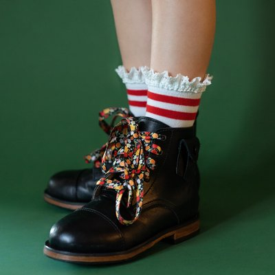 THE LITTLE STOCKING CO Little Stocking Co Red Stripe Lace Midi Socks