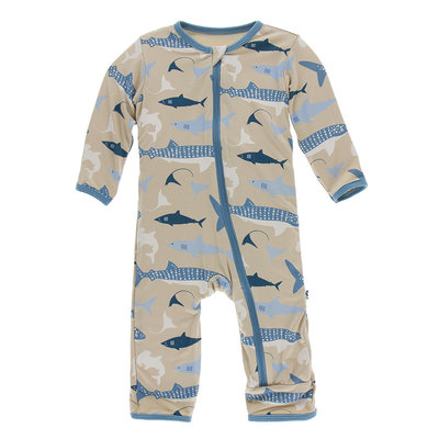 KICKEE PANTS Kickee Pants Burlap Sharks Coverall with Zipper