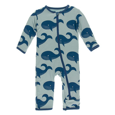 KICKEE PANTS Kickee Pants Jade Whales Coverall with Zipper