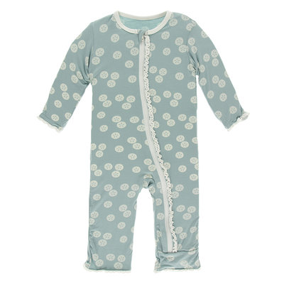 KICKEE PANTS Kickee Pants Jade Sand Dollar Muffin Ruffle Coverall with Zipper