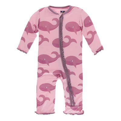 KICKEE PANTS Kickee Pants Lotus Whales Muffin Ruffle Coverall with Zipper