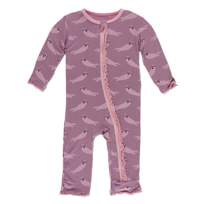 KICKEE PANTS Kickee Pants Pegasus Sea Otter Muffin Ruffle Coverall with Zipper