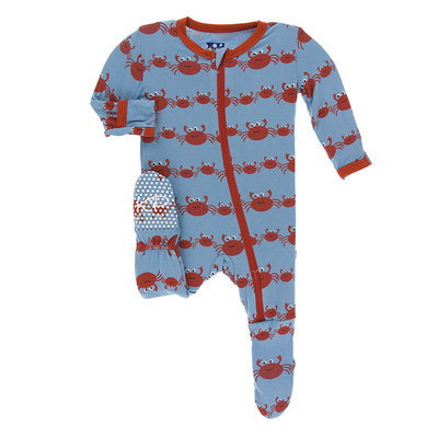 KICKEE PANTS Kickee Pants Blue Moon Crab Family Footie with Zipper