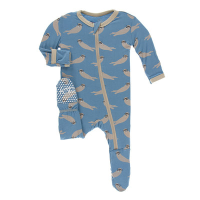 KICKEE PANTS Kickee Pants Blue Moon Sea Otter Footie with Zipper