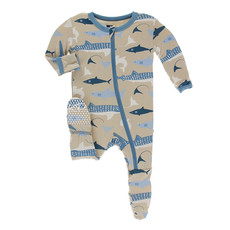KICKEE PANTS Kickee Pants Burlap Sharks Footie with Zipper