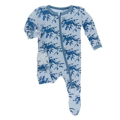 KICKEE PANTS Kickee Pants Pond Leafy Sea Dragon Footie with Zipper