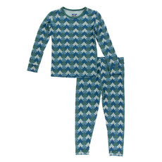 KICKEE PANTS Kickee Pants Ivy Waves Long Sleeve Pajama Set