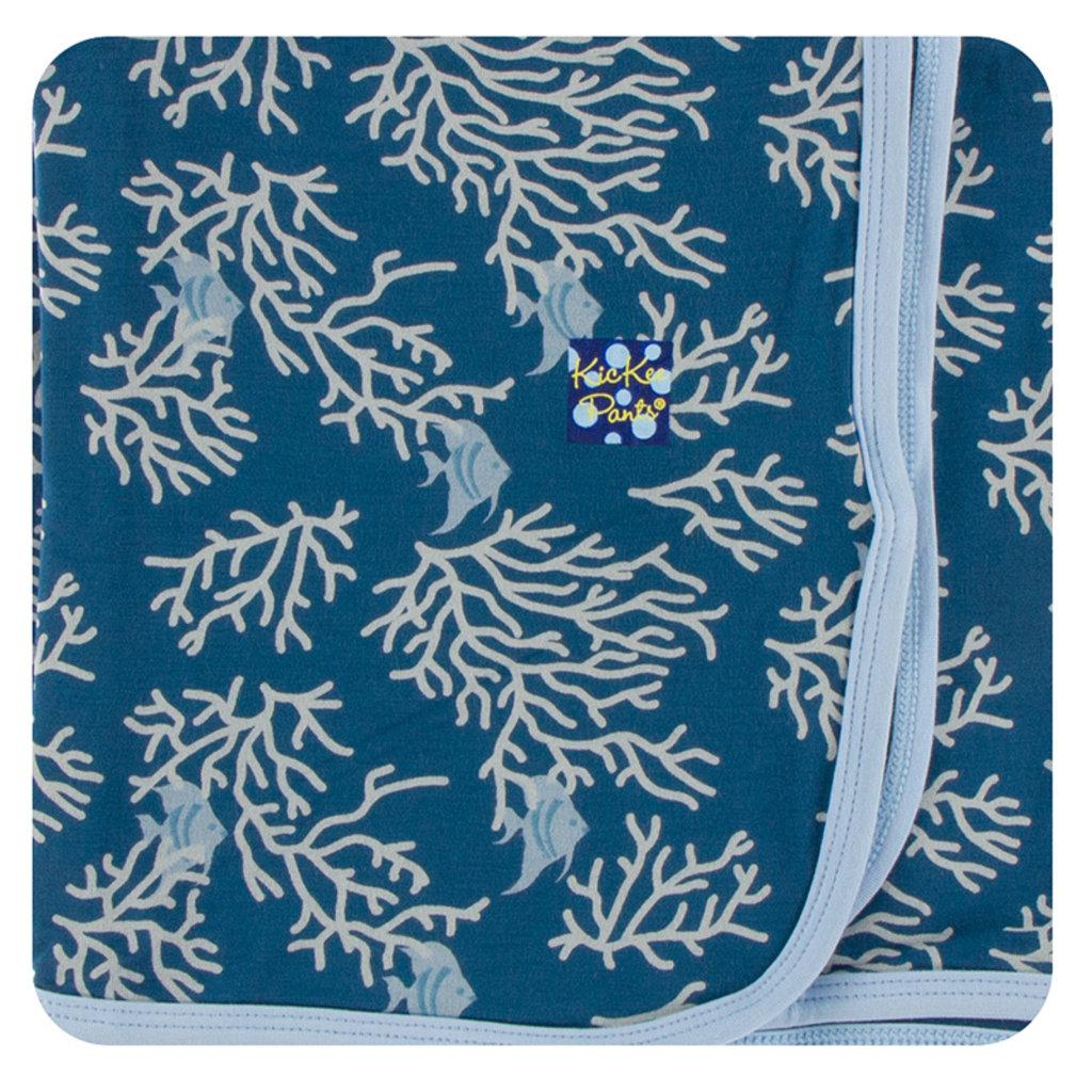 KICKEE PANTS Kickee Pants Oceanography Swaddling Blanket - Blues
