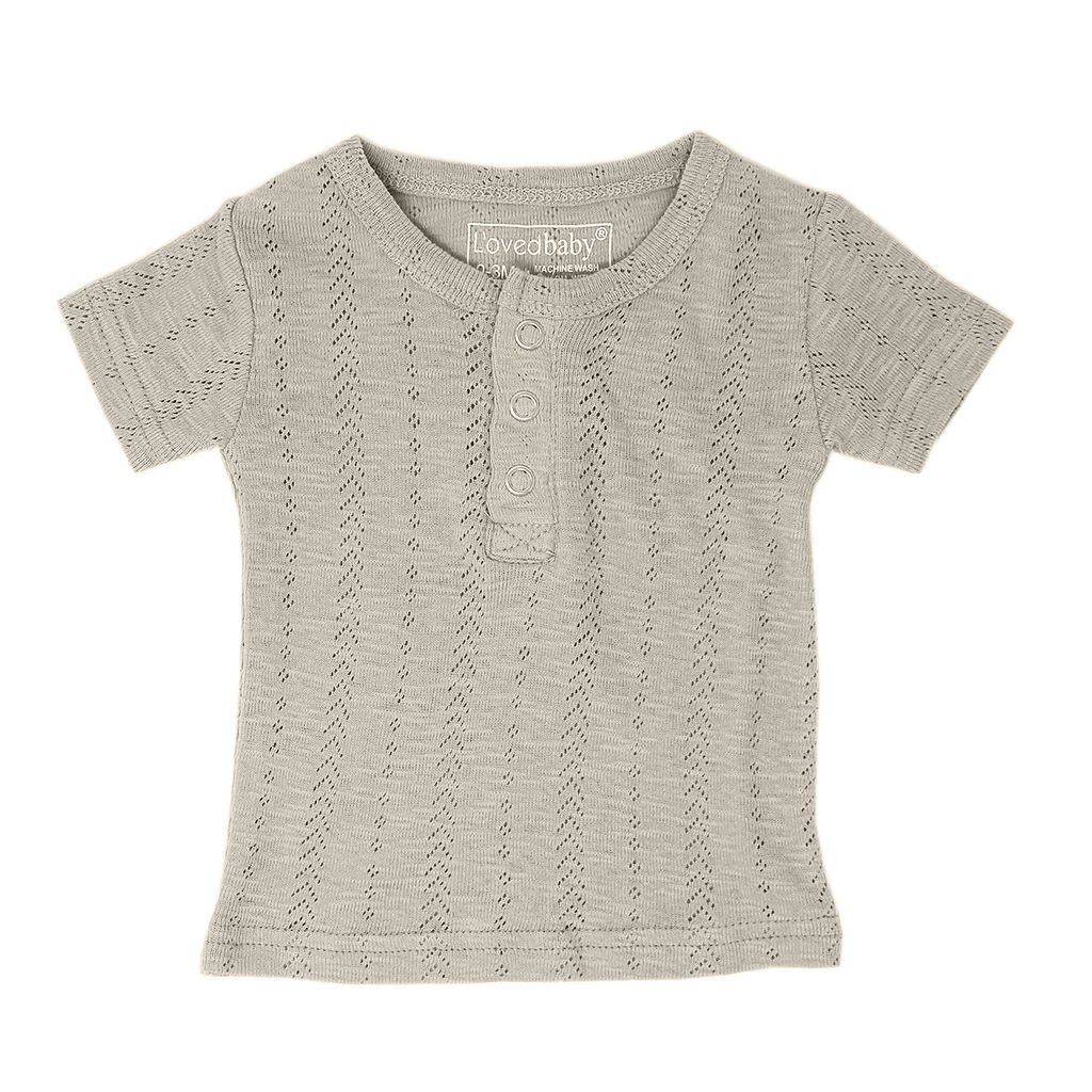 L'OVED BABY L'oved Baby Pointelle Henley Tee