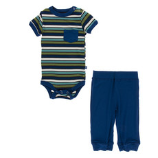 KICKEE PANTS Kickee Pants Botany Grasshopper Stripe Short Sleeve Pocket One Piece and Pant Outfit Set