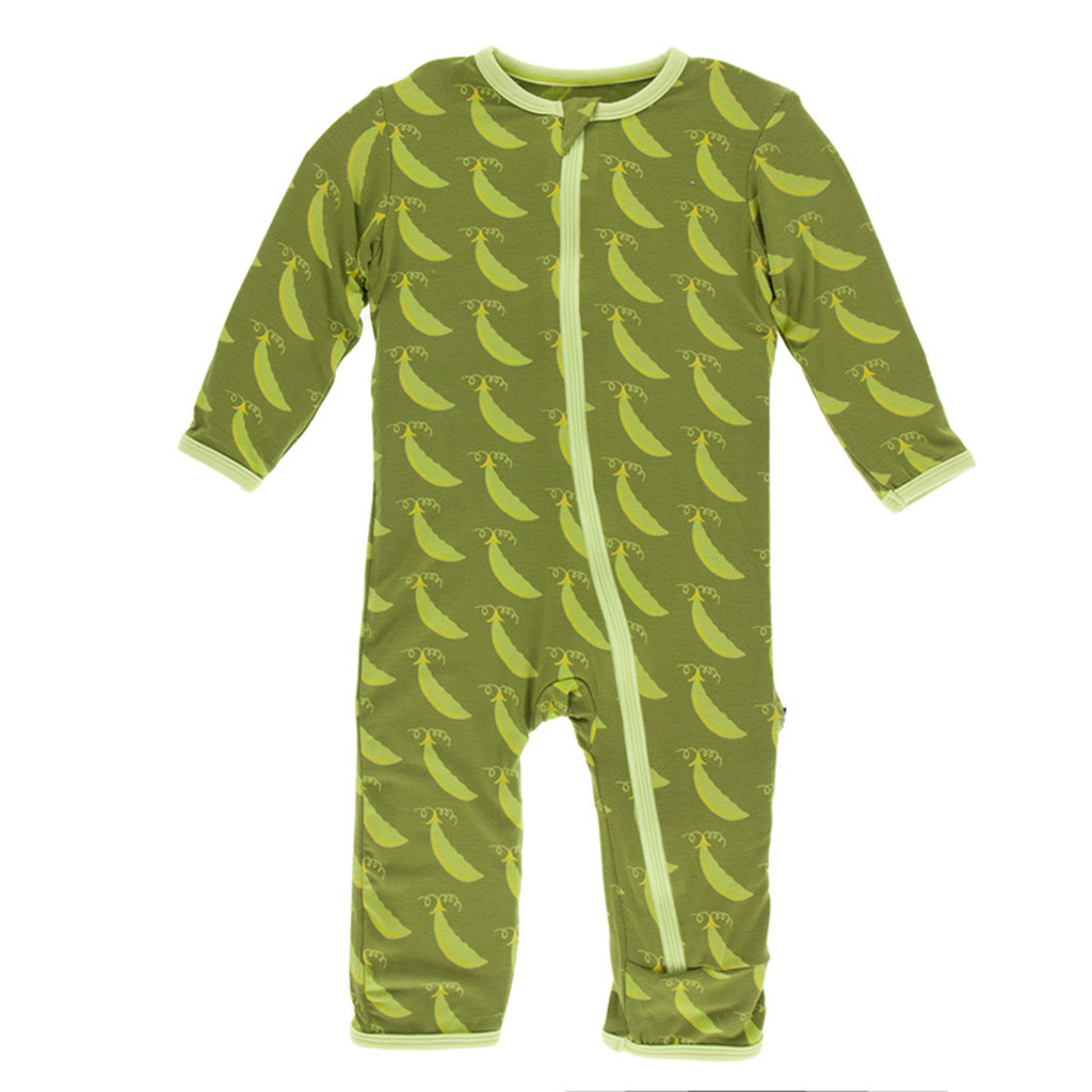 KICKEE PANTS Kickee Pants Grasshopper Sweet Peas Coverall with Zipper
