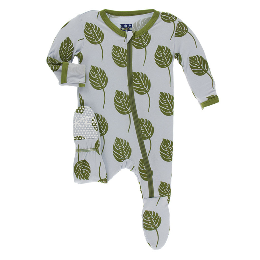 KICKEE PANTS Kickee Pants Dew Philodendron Footie with Zipper