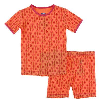 KICKEE PANTS Kickee Pants Nectarine Leaf Lattice Short Sleeve Pajama Set with Shorts