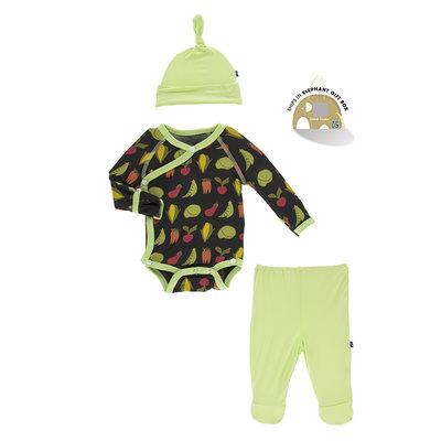 KICKEE PANTS Kickee Pants Zebra Garden Veggies Kimono Gift Set