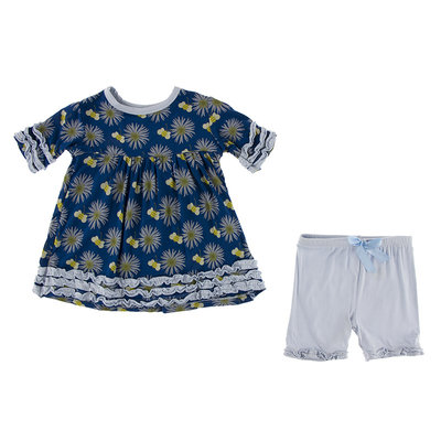 KICKEE PANTS Kickee Pants Navy Cornflower and Bee Short Sleeve Babydoll Outfit Set