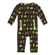 KICKEE PANTS Kickee Pants Zebra Garden Veggies Coverall with Zipper