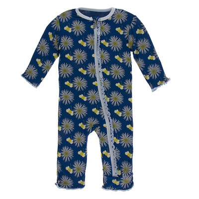 KICKEE PANTS Kickee Pants Navy Cornflower and Bee Muffin Ruffle Coverall with Zipper